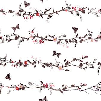 원활한 패턴 손으로 그린 꽃과 나비