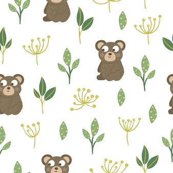 Seamless pattern of hand drawn  funny baby bear with stylized leaves and dill.