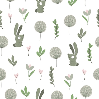 Seamless pattern of hand drawn  funny baby hare with stylized leaves and dandelions.