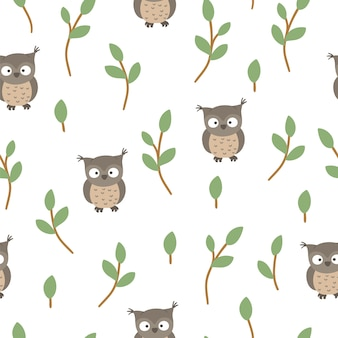 Seamless pattern of hand drawn  funny baby owl with stylized tree twigs.
