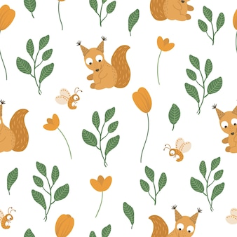 Seamless pattern of hand drawn  funny baby squirrel with leaves and orange flowers.