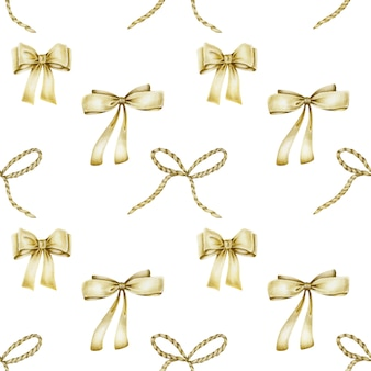 Seamless pattern of hand drawn golden bows