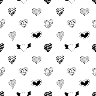 Seamless pattern of hand drawn hearts.