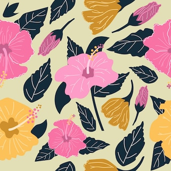 Seamless pattern of hand drawn hibiscus flowers