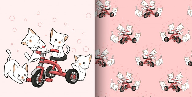 Seamless pattern hand drawn kawaii cats are riding tricycle