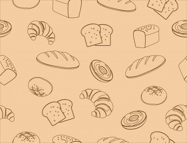Seamless pattern of hand drawn line art bakery