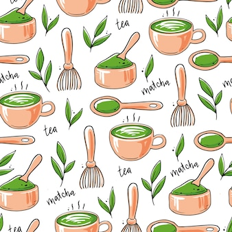Seamless pattern of hand drawn matcha tea ingredient and traditional ceremony elements