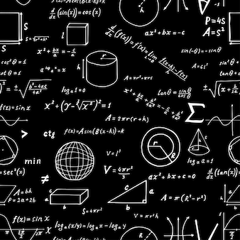 Seamless pattern, hand drawn mathematical formulas and signs