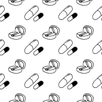 シームレスパターン手描きの丸薬落書き。スケッチスタイルのアイコン。装飾要素。白い背景で隔離。フラットなデザイン。ベクトルイラスト。