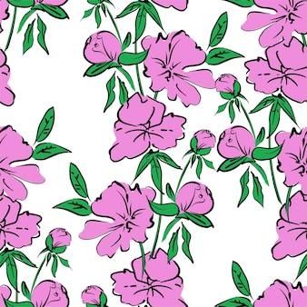 원활한 패턴 손으로 그린 핑크 모란
