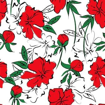 원활한 패턴 손으로 그린 붉은 모란