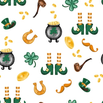 Seamless pattern of hand drawn st.patrick's day elements