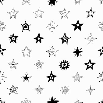 Seamless pattern of hand drawn stars.