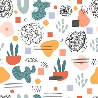 シームレスなパターン。手描きのさまざまな形や落書きオブジェクト。抽象的な現代的な現代の流行のベクトルイラスト。スタンプテクスチャ。