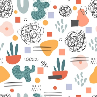 Seamless pattern. hand drawn various shapes and doodle objects. abstract contemporary modern trendy vector illustration. stamp texture.