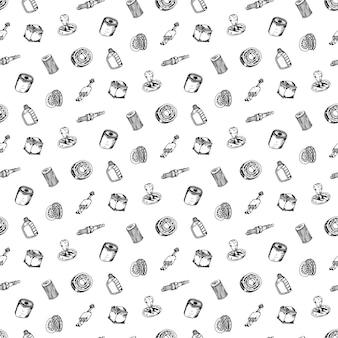원활한 패턴 손으로 그린 벡터 일러스트 레이 션 자동차 부품 기호 및 기호 한다면 요소 집합입니다. 흰색 배경에 고립.