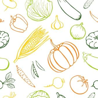 Бесшовный фон рисованной овощи коллекции, изолированные элементы. векторная иллюстрация.