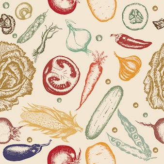 Seamless pattern hand drawn vegetables