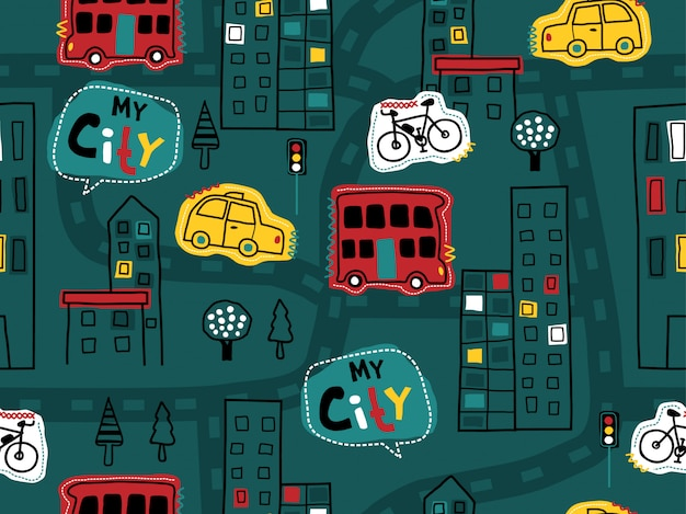 Seamless pattern of hand drawn with vehicles, buildings, road