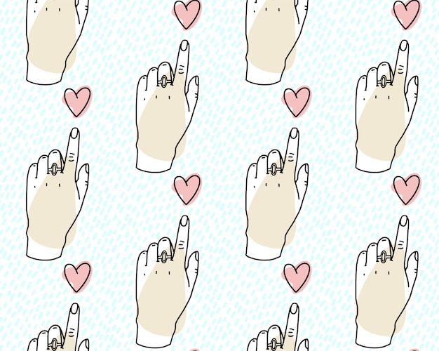 Seamless pattern. hand pointing towards heart, forefinger on the heart.