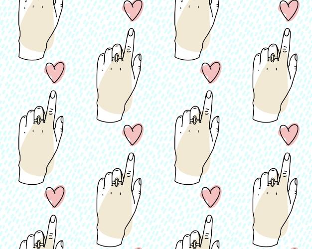 シームレスパターン。心に向かって指している手、心に人差し指。