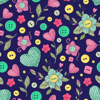 Seamless pattern handmade knitted flowers and elements