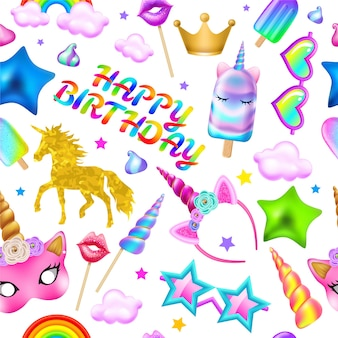 Seamless pattern happy birthday.