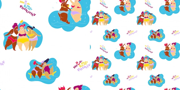 Seamless pattern happy fat girl on the beach