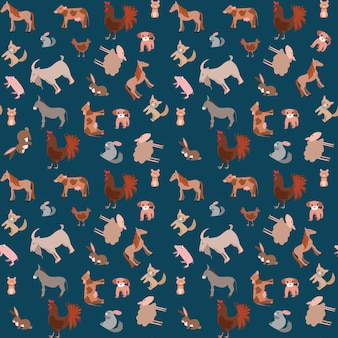 Seamless pattern of happy funny pets or farm pets in flat style