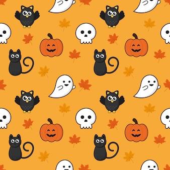 Бесшовные модели счастливые иконки хэллоуин, изолированных на оранжевом фоне.