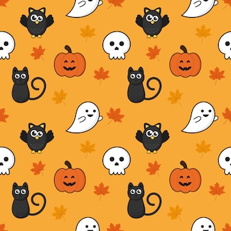 Seamless pattern happy halloween icons isolated on orange background.