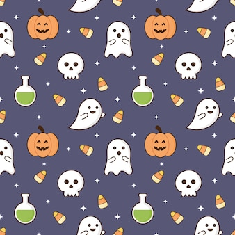 Seamless pattern happy halloween icons isolated on purple background.
