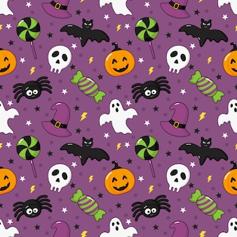 Seamless pattern happy halloween icons isolated on purple