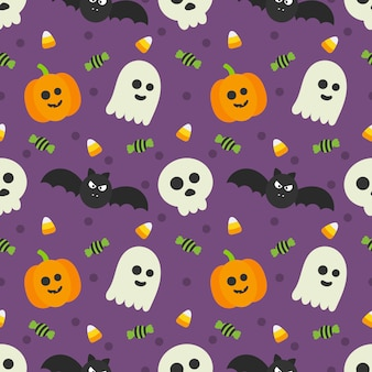 Seamless pattern happy halloween icons isolated on purple.