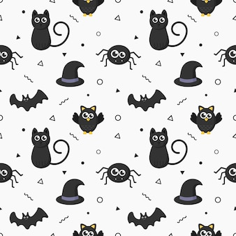 Seamless pattern happy halloween icons isolated on white background.