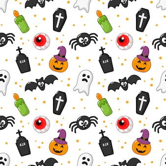 Seamless pattern happy halloween icons isolated on white.
