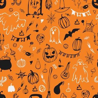 Seamless pattern. happy halloween. pumpkins, ghosts, bowler hat, candy, spider webs. vector illustration.