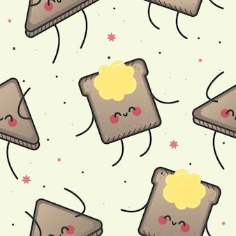 Seamless pattern, happy toast.
