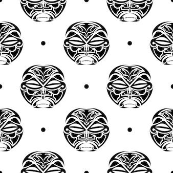 シームレスパターンのハワイアンティキマスク。偶像の頭、マヤの古風な文化、伝統的な先住民のシンボル、古代のマオリの神々。