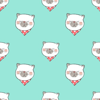 Seamless pattern head of cat on green pastel