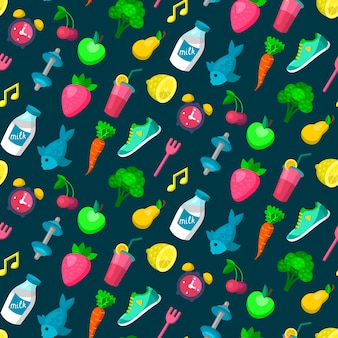 Seamless pattern of healthy lifestyle icons