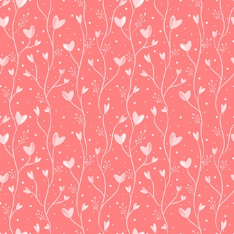 Seamless pattern heart and floral