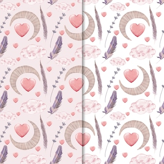 seamless pattern of heart and moon