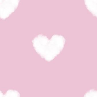 ピンクのシームレスパターンハート型ふわふわ雲