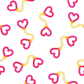 Seamless pattern of heart shaped handcuffs for the wedding or valentine's day.