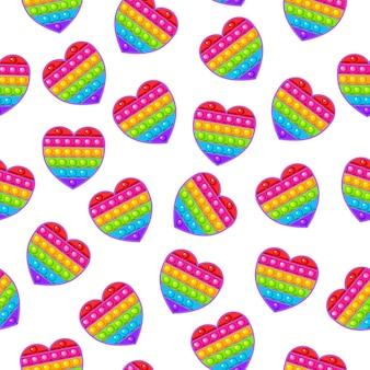 Seamless pattern heart toy colorful sensory antistress toy for fidget pop it
