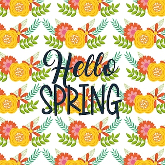 Seamless pattern hello spring