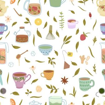 Seamless pattern of herbal tea.