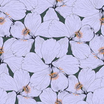 Seamless pattern hibiscus flowers abstract background. illustration drawing fabric design.