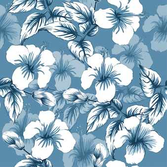 Seamless pattern hibiscus flowers abstract background.